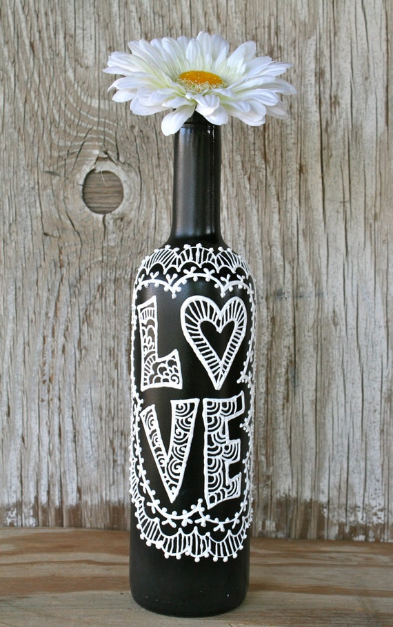 Painted Wine Bottle Love Black And White Wedding Etsy