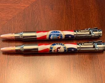 Navy or Air Force Bolt Action Bullet Pen - Military Gift - Patriotic Gift - Rifle Clip  - Gun Metal finish 1634 1635