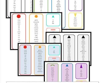 Montessori Word List with Grammar Symbols