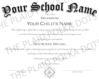 Homeschool High School Diploma - PRINTED AND SHIPPED