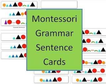 Montessori Grammar Symbol Sentence Cards Strips (34 in set!) + BONUS word list dyslexia font