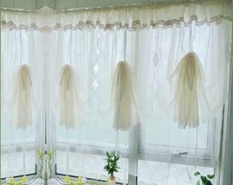Pair Of Shabby Chic Fixed Valance With Hem Lace Creamy Grass Green Pull Up Curtains French Pinch Pleat Drapes Drapery