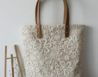 Ivory shabby chic satin bag