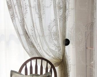 Stunning Shabby Chic Fairy Tale White Sheer Curtain Lace Rod Pocket Pinch Pleated Drapery Drape