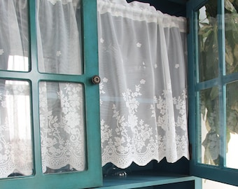Charmant Pair Of Shabby Chic French Country Style Fairy Tale White Rod Pocket Rose  Lace Sheer Cafe Curtain, Kitchen Curtain