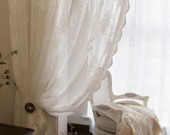 white curtains pair of curtains France antique curtains roses vintage curtains Lace Curtains romantic home decor Lace Curtains