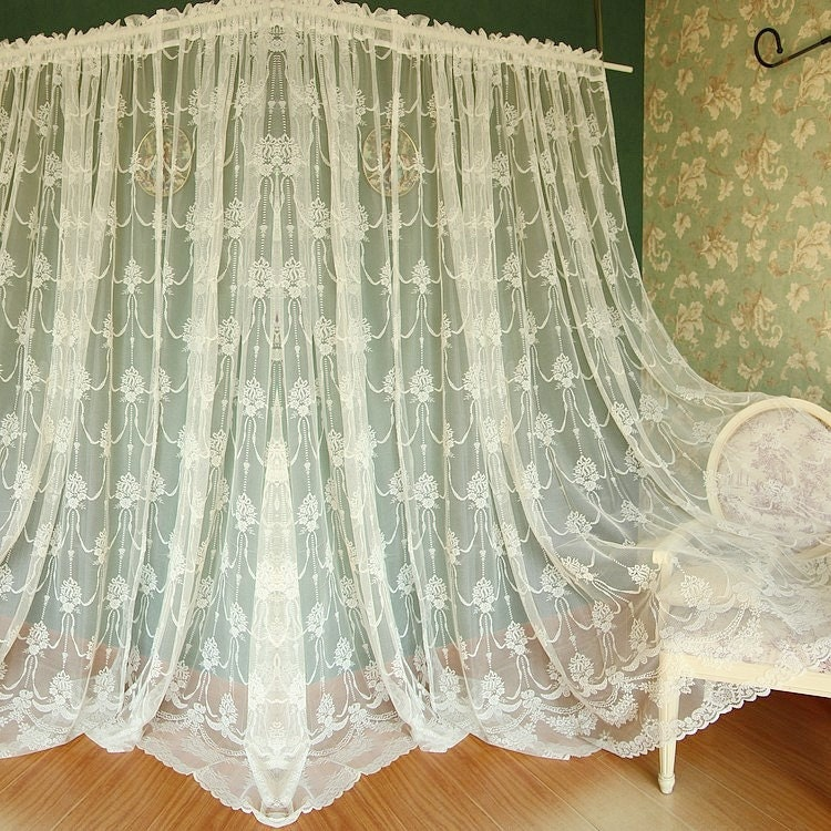 Fairy Tale Brides Bouquet White Sheer Curtain Lace Curtain