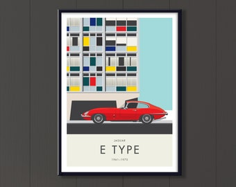 Jaguar E Type file. 1960's and 70's English classic sports car with Modernist architecture