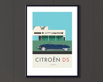 Citroën DS convertible Jpeg file, classic French car and Villa Savoye.