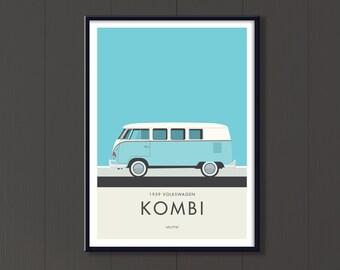 Volkswagen Kombi Jpeg download, classic German camper. Retro Microbus printable art
