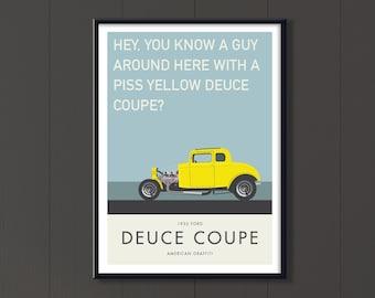 American Graffiti yellow 32 Ford Coupe file, classic boys room road movie art, film quotes, Retro American hot rod art