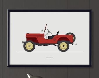 1948 Willys Jeep CJ 2A Jpeg file. Classic vintage American car wall art, a lovely gift for him.