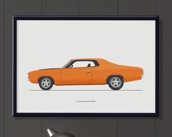 1972 VH Chrysler Valiant Hardtop file, classic Australian car art, boys or girls room decor.