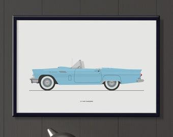 1957 Ford Thunderbird file, kids room wall art, classic 2 door convertible T'Bird art, American car retro decor art