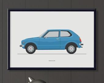 Honda Civic jpeg file. Classic Japanese car poster.