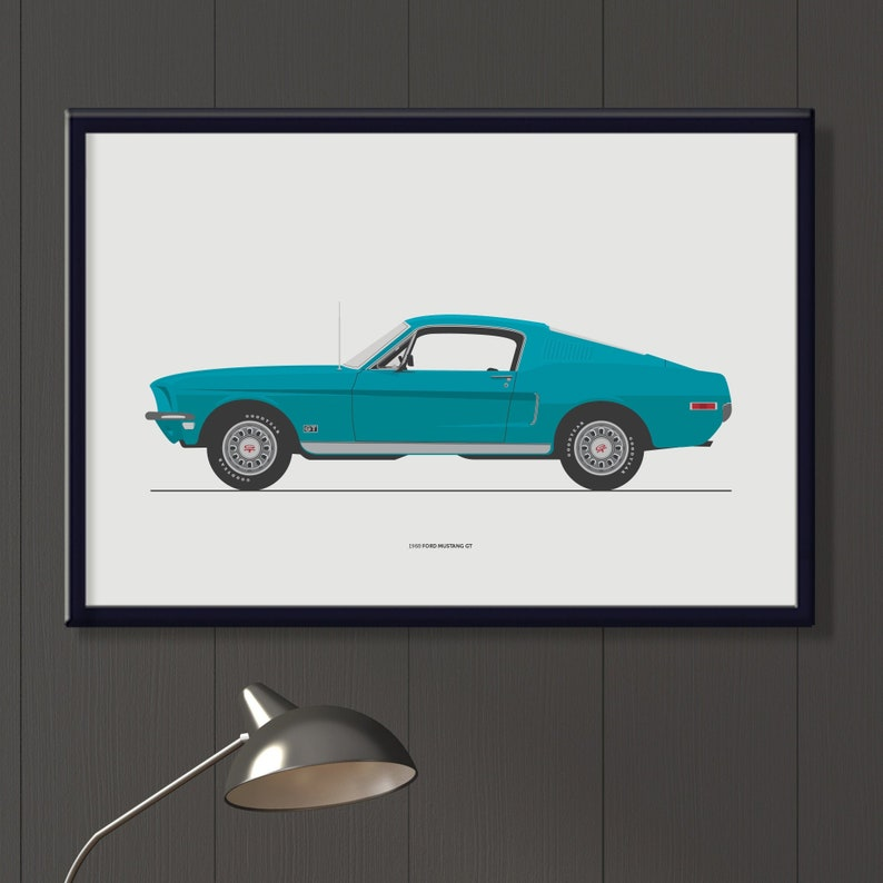 1968 Ford Mustang GT file sixties American sports car art image 0