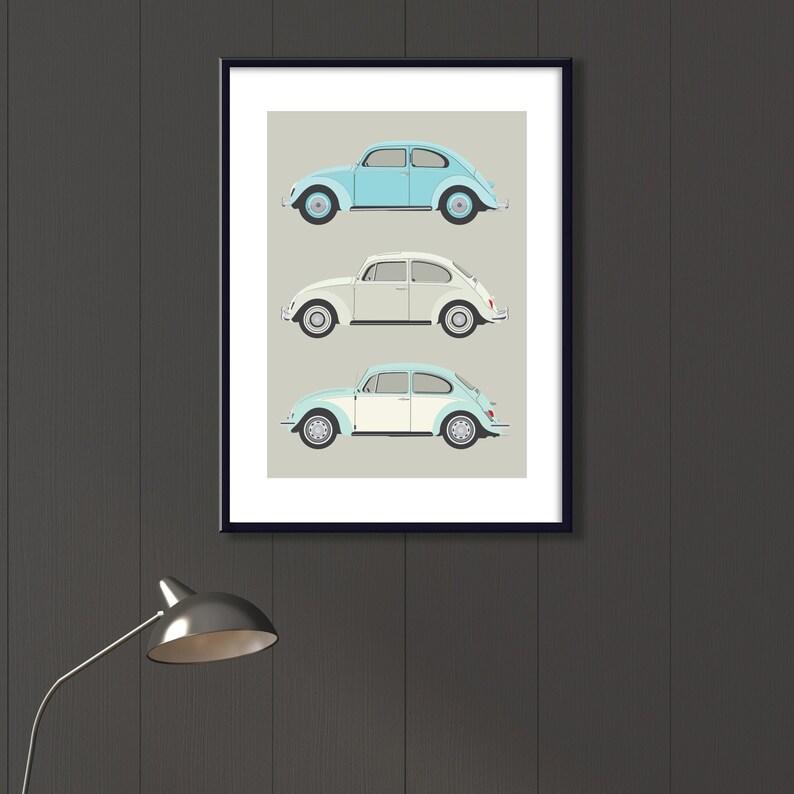 iconic retro VW Bug vehicle art Volkswagen car art classic car illustration for her 3 classic VW Beetles file neutral decor