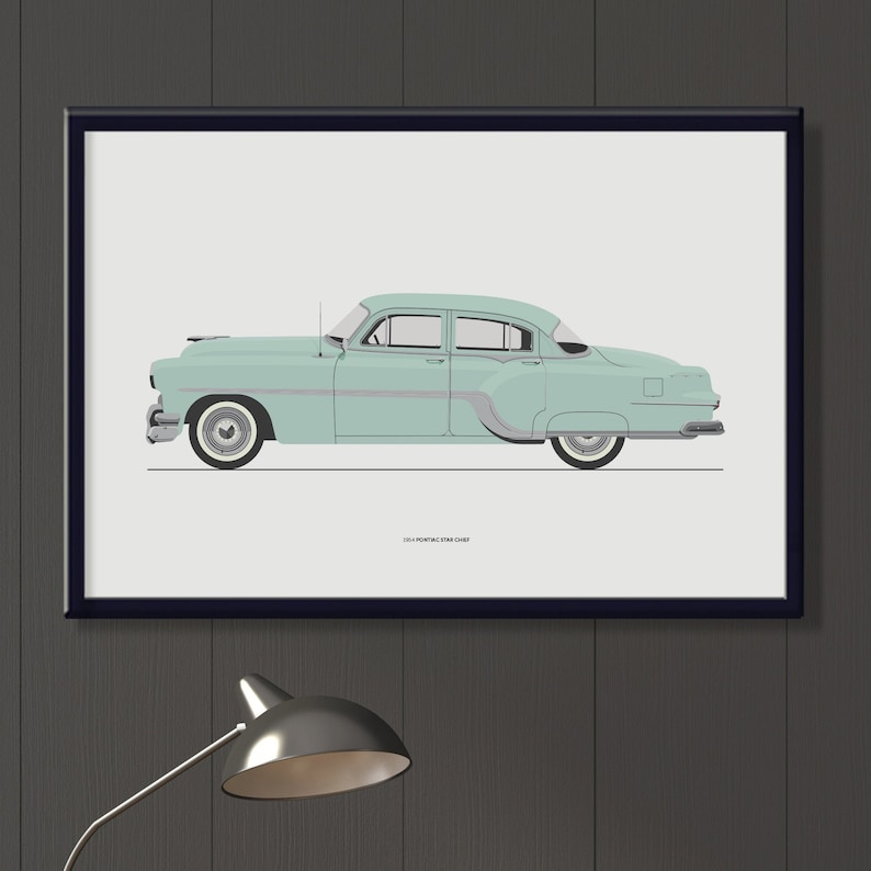 1954 Pontiac Star Chief file retro blue green decor vintage image 0