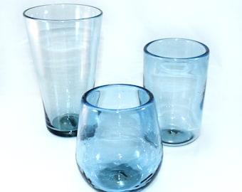 Blown Glass Recycled Blue Glassware | New Life Glass | Recycled Upcycled Glass | Tumbler | Pint | Stemless Wine | Handmade