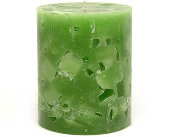 Cosmic Candles Green Chunk Round Pillar Unscented 3x4