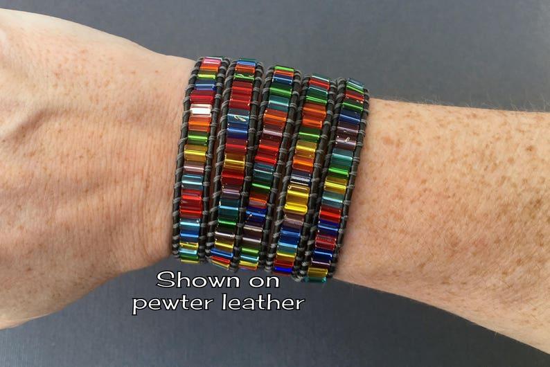 tile wrap on natural leather beaded bohemian gypsy boho beach yoga jewelry rainbow bracelet stained glass bracelet