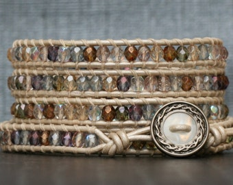 bohemian jewelry wrap bracelet- soft jewel tones on pearl white leather- beaded leather - painted desert colors - fall tones - boho gypsy