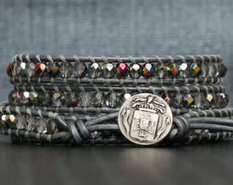wrap bracelet- clear and iridescent crystal on silver leather- 4 wrap bracelet