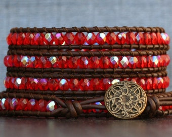 wrap bracelet- scarlet red orange aurora borealis crystal on dark brown leather - boho gypsy bohemian - beaded