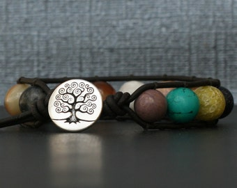gemstone single wrap bangle bracelet on black brown leather - mens or women - boho gypsy bohemian jewelry - mixed gemstones - tree of life