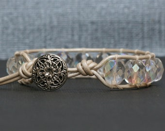 wrap bracelet single - clear aurora borealis - crystal on pearl white leather - more leather colors available - gypsy bohemian wedding