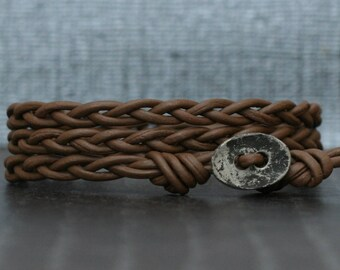 chocolate brown braided leather wrap bracelet with distressed silver button - casual bohemian - simple jewelry