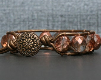 rose gold crystal on bronze leather single wrap bracelet - boho glam bangle