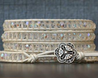 wrap bracelet- clear aurora borealis crystal on bright white leather - boho wedding gypsy bohemian