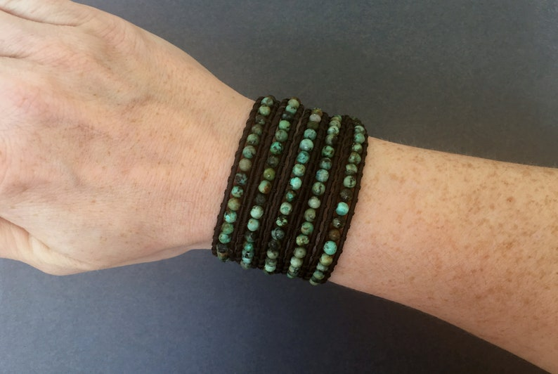 african green turquoise on black brown leather beaded leather 5 wrap turquoise wrap bracelet