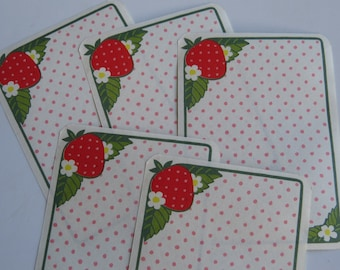 5 Strawberry Memo Sheets for Journaling & Scrapbooking