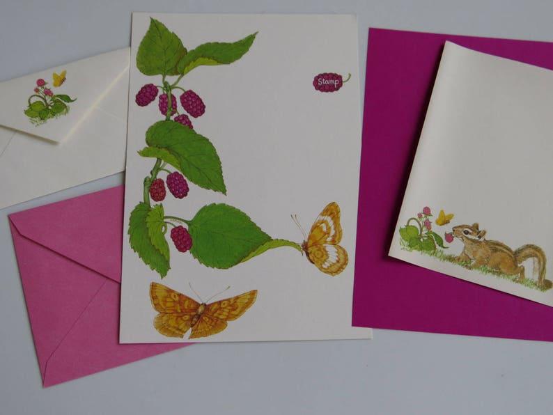 Vintage Stationery ~ Current ~ Linda K Powell ~ Current ~ Raspberries ~ Chipmunk