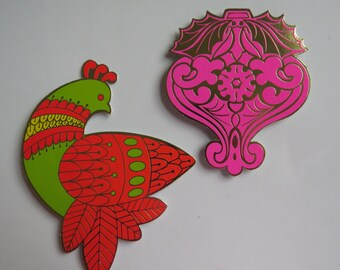 2 Lg 70's Christmas Gift Tags ~ Tie Ons ~ Pinks & Gold