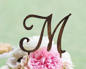 Monogram Wedding Cake topper - Wooden Wedding Cake Topper - Personalized Wedding Cake Topper - Rustic Wedding Cake Topper