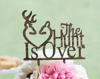 Ruscit Wooden The HUNT is OVER Wedding Cake Topper - Rustic Country Chic Wedding