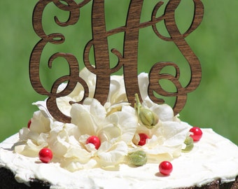 Rustic Wooden Monogram Wedding Cake topper - Wooden cake topper - Personalized Cake topper