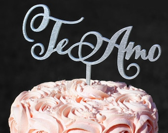 Silver Te Amo Cake topper | Wedding Cake Topper | Engagement Topper | Personalized Cake Topper | Cake Toppers for Weddings |