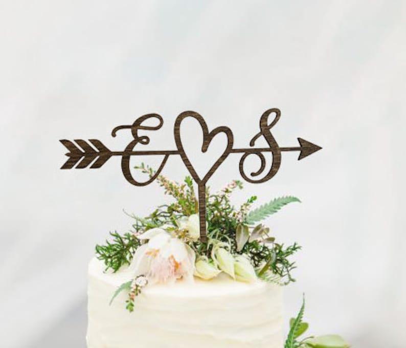 Rustic Wedding Arrow Cake Topper  Decoration  Beach wedding image 0