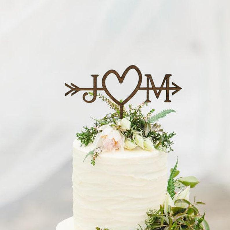7bcb1544a7c6c4 Rustic Wedding Arrow Cake Topper Custom Cake Topper Beach
