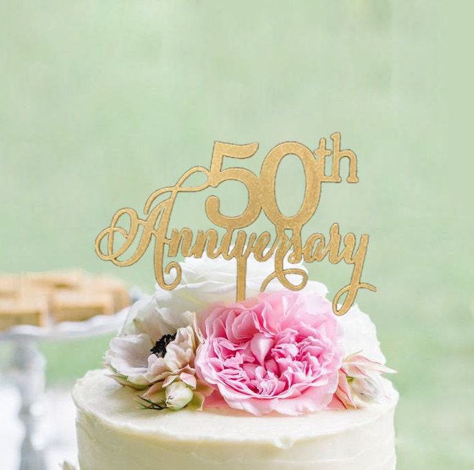 50th Anniversary Cake topper Wooden Anniversary Cake Topper | Etsy