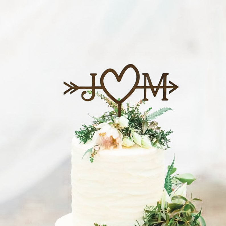 Rustic Wedding Arrow Cake Topper  Custom Cake Topper  Beach image 0