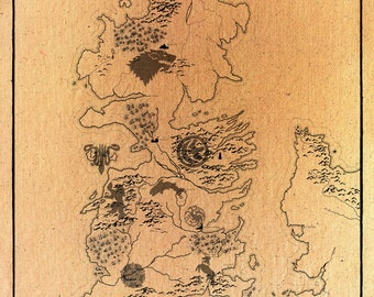 image relating to Printable Map of Westeros named Westeros map print Etsy