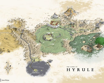 Ocarina of Time Hyrule Map Poster