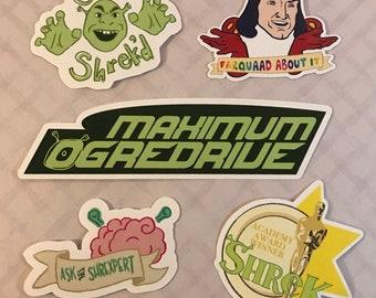 Shrek Sticker Set | Get Shrek'd | Maximum Ogredrive | Shrexpert | Lord Farquaad