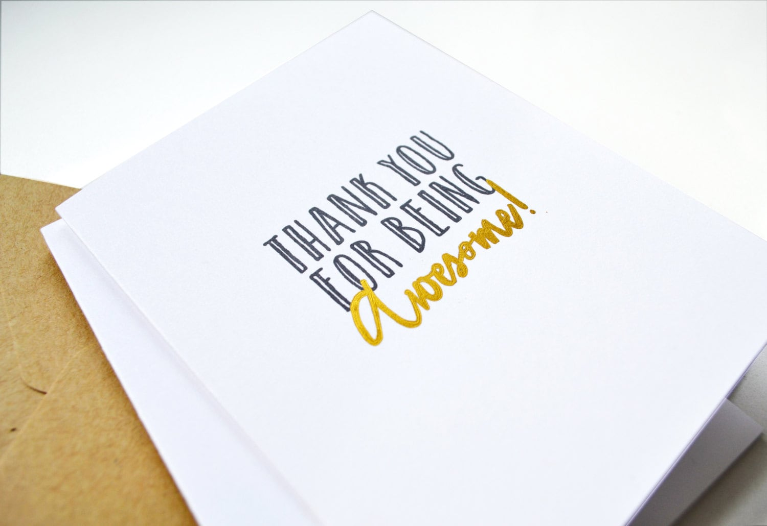 Gold And Gray Thank You Note Funny Thank You Note You Re Awesome