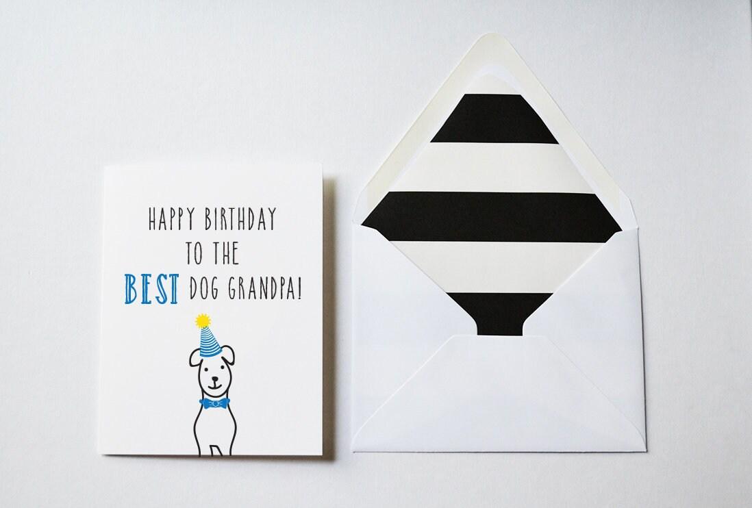Greeting Card Happy Birthday To The Best Dog Grandpa Birthday